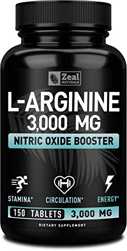 L Arginine 3000mg (150 Tablets | 1000mg) Maximum Dose L-Arginine Nitric Oxide Supplement for Muscle Growth, Pump Vascularity and Energy - L Arginine 1000mg Capsules, Nitric Oxide Booster