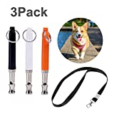 Johiux 3 Pack Silbato para Perros, Sifflet Sonique Réglable,Ultrasonidos Adiestramiento Mascotas Metalico Silbato para Perros Silbato Entrenador. (Black+White+Orange)