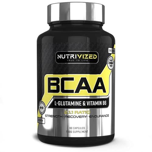 Nutrivized BCAA + L Glutamine Pills - Vitamin B6 - Pre-Workout - Muscle...