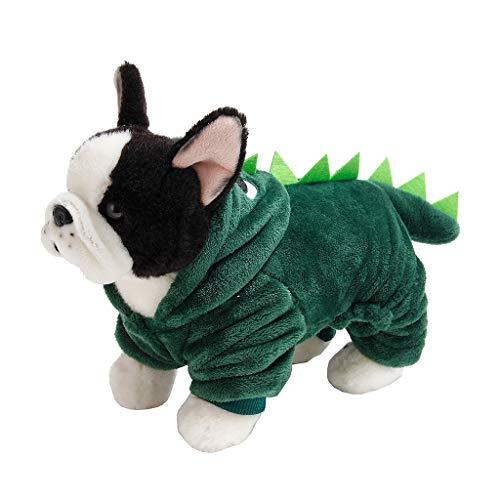 Dinosaurier-Hund Halloween-Kostüm Haustier Dino Hoodie Für Kleine Hunde, Haustier-Dinosaurier-Kostüm Mit Kapuze Für Kleine Hunde Katzen Outfit Wintermantel Warme Jacke,A,XS