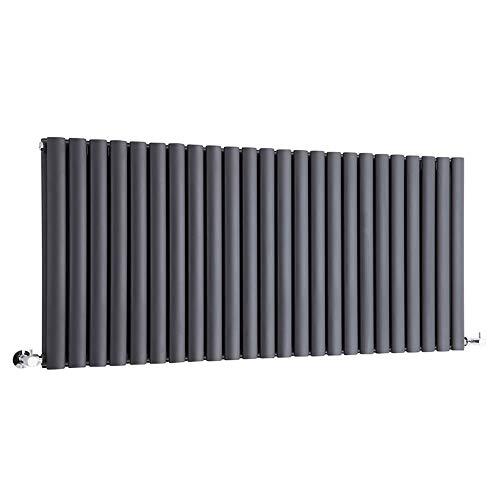 Hudson Reed Heizkörper Revive - Horizontaler Design-Heizkörper aus Stahl in Anthrazit (RAL7016) - 635 x 1411 mm - Doppellagig