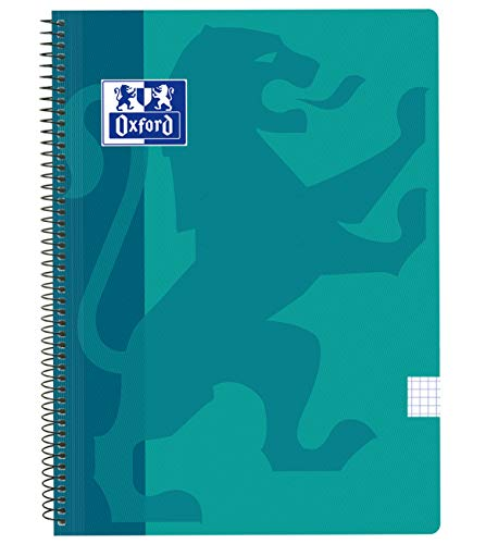 Oxford Classic - Cuaderno espiral, tapa plástico, cuadrícula 4x4, color aqua