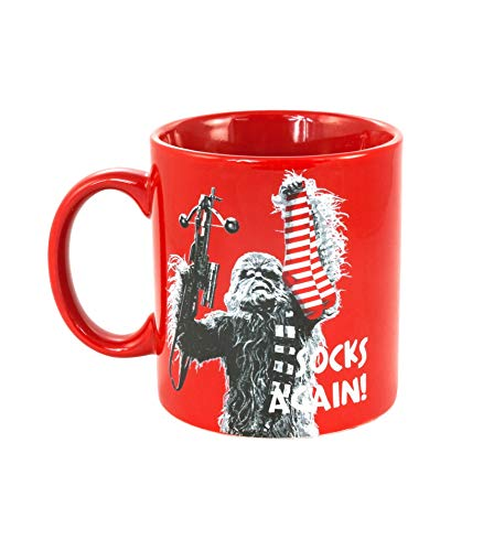 """Star Wars Chewbacca Coffee Mug, 20 Ounce - Oversized Red Ceramic Mug with Funny Chewie Quote,""""Socks Again"""" – Makes a Great Coffee Cup, Tea Mug, Novelty Mug, and Star Wars Gifts for Dad and Fans"""