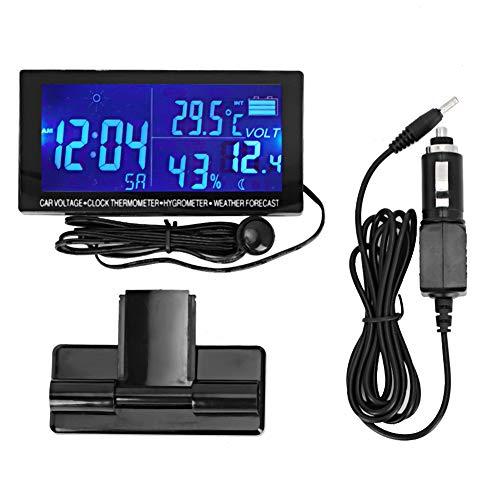 Orologio per auto, orologio digitale universale per auto Cruscotto termometro igrometro Voltmetro per veicoli con previsioni del tempo