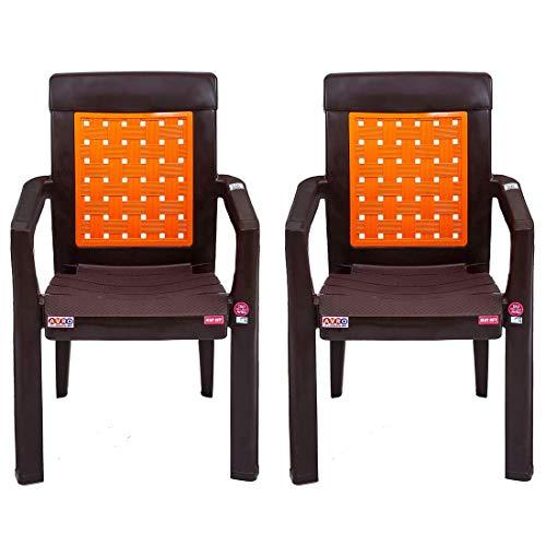 AVRO FURNITURE, 2581 Plastic Chairs, Set of 2 Pcs, Plastic Modern Ergonomic Chair Without Cushion, 200 kilograms (Orange), 2...