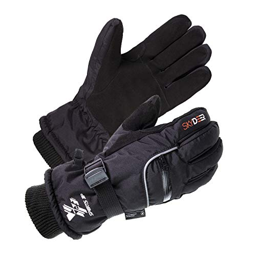 SKYDEER Men's and Women's Waterproof Deerskin Suede Leather Cold Weather Ski Gloves for Snowboarding, Skiing, Ice Fishing, Snowmobile, Ice Skating, Hiking, Kayaking (SD8650T/XL)