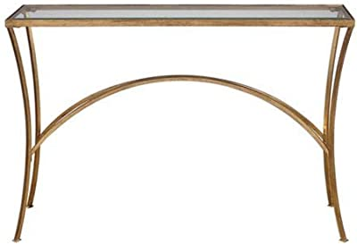 """Uttermost 24640 Alayna - 48"""" Console Table, Antique Gold Leaf Finish with Clear Beveled Tempered Glass"""