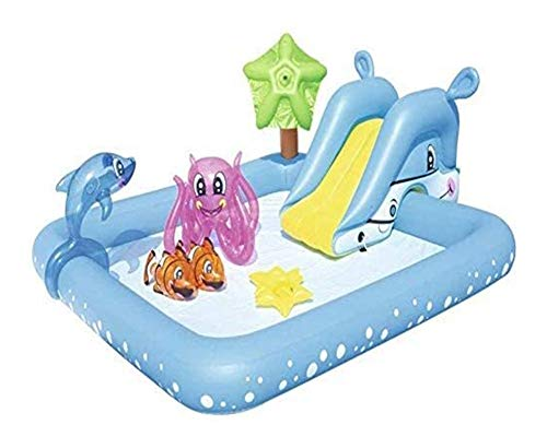 JCCOZ -URG - Piscina infantil resistente al desgaste para niños, portátil, rectangular, 239 x 206 x 86 cm, color azul