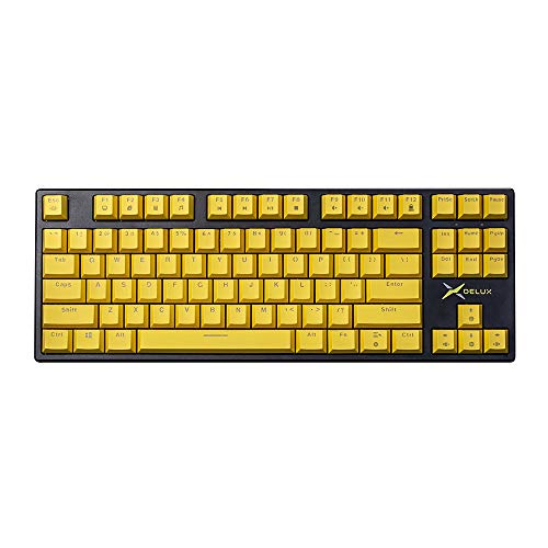 DELUX KM13DP 2.4G TKL Wireless Mechanical Keyboard with PBT Keycaps, 87 Keys, USB Receiver, Red Switch, and Programmable Software, Tenkeyless Keyboard for Copywriter, Typists and Programmer (Black)