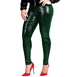 Green Sequin Stretchy Leggings Tights High Waist Pants
