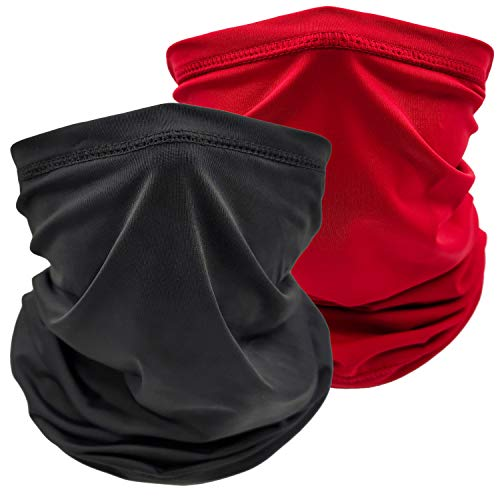 Cooling Neck Gaiter Face Cover Mask Summer Breathable Dust UV Bandana Scarf for Men Women Fishing Running Cycling(2PCS Solid Black+Red)