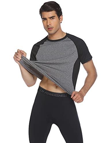 COOrun Mens Sport Shirts Short Raglan Sleeves Dry Fit Training Active Athletic Wear Gym Workout T-Shirt XXL Light Grey