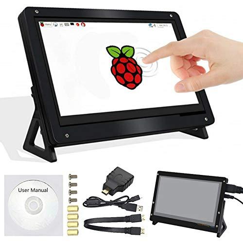 Raspberry Pi - Pantalla táctil de 7 pulgadas con soporte 1024 x 600 LCD HDMI para Raspberry Pi 4/3/2/1/3B+/BB Banana Pi PC Laptop Nvidia Jetson Nano Mac Microsoft TV Videoconsola