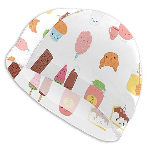 GUUi Zwemmuts Elastische Zwemmuts Duiken Caps, Dessert Concept Schetsen IJs Donut Cake Honing Cupcake Chocolade Alles Sweet,Voor Mannen Vrouwen Jongeren