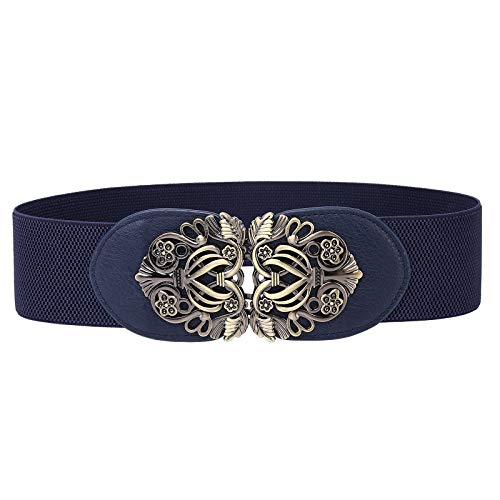 "Syuer Women Retro Style Stretchy Waist Belt Vintage Elastic Wide Dress Belts (S-M (26""-32""), Navy Blue)"