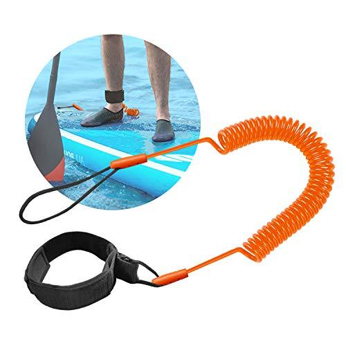 Tusenpy 10 Füße Surfboard Leash Surf Leash Wasserski Fußseil, Stand Up Paddle Board Knöchelriemen Sup Board Leash Aufgerollten TPU Sicherheit für Surfen (Orange)