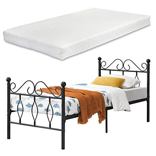 [en.casa] Metallbett Apolda 90x200 cm Jugendbett mit Matratze und Lattenrost Einzelbett mit Kaltschaummatratze bis 200kg Schwarz