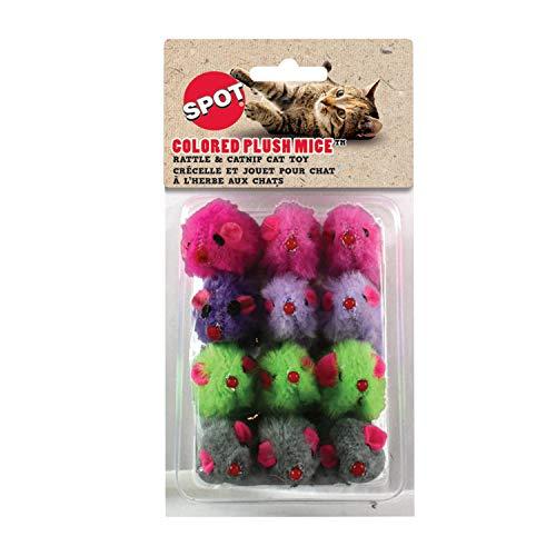12 Pack Color Plush Mice Ethical Pet Products dans Spot CSO2048 Couleur de Fourrure Souris Jouet pour Chat