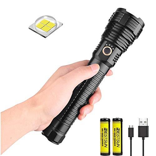Torcia LED XHP70.2 ricaricabile, torcia tattica LED 10000 lumen Super Power Zoomable 5 modalità, torcia luminosa con funzione di visualizzazione di potenza per il campeggio (batterie incluse)