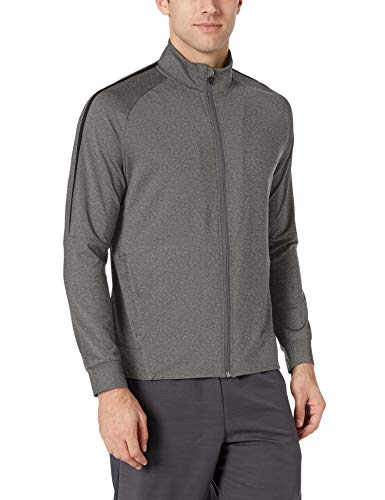 Amazon Essentials Men's Performance Track Jacket, Charcoal Grey Heather, Small