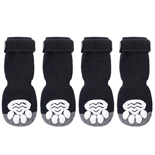 SCIROKKO Anti-slip Dog Socks 2 Pairs for Small Doggies Pets Indoor Walking and Running, Soft and Comfortable Boots, Black Paw Protector