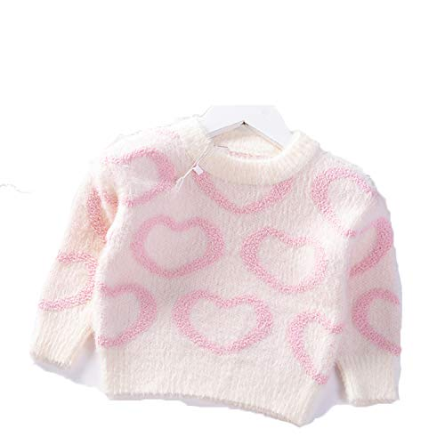 Winter Baby Girls Sweater Princess Love Pattern Pullover Mink Granular Velvet Knit Kids Clothes Children Warm Coat Pink 5T