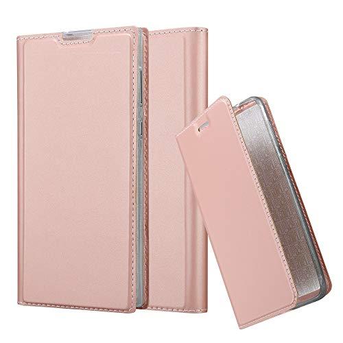 Cadorabo Hülle für Sony Xperia L1 in Classy ROSÉ Gold - Handyhülle mit Magnetverschluss, Standfunktion & Kartenfach - Hülle Cover Schutzhülle Etui Tasche Book Klapp Style