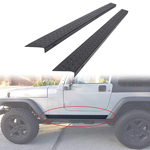 ECOTRIC Side Body Armor Rocker Panel Diamond Plate Kit Compatible with 1997-2006 Jeep TJ Wrangler Replacement for 11650.05