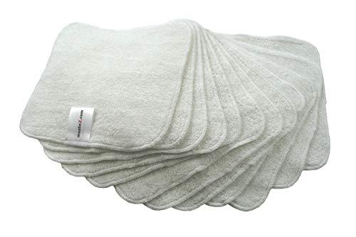 MuslinZ 12PK Toallitas de bambú algodón Terry Toallitas 20x20 cms Face Cloth Toallas reutilizables para bebés (blanco)