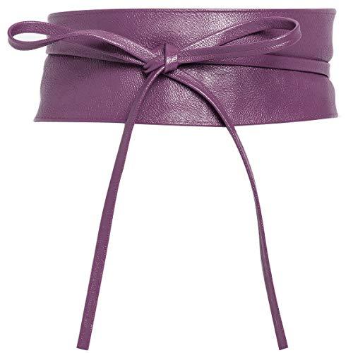 Charmoni - OBI - Cintura larga in pelle sintetica da annodare intorno alla vita, taglia unica Violet Taglia Unica