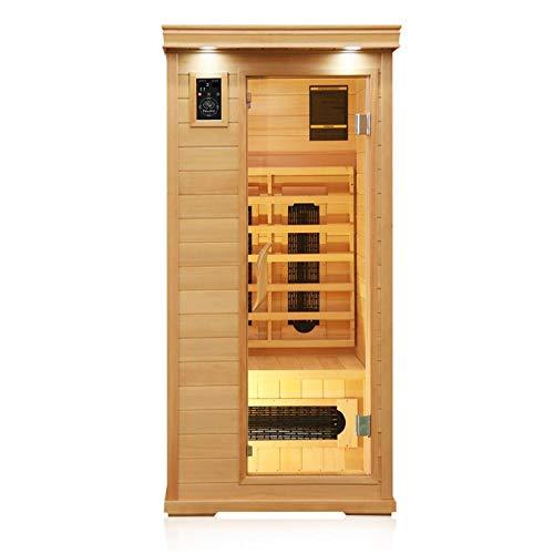 Dewello Infrarotkabine WINDSOR 90cm x 90cm für 1 Person aus Hemlock Holz mit Keramikstrahler