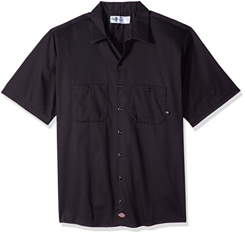 Dickies Occupational Workwear LS307BK XL Cotton Men's Short Sleeve Industrial Work Shirt, X-Large, Black