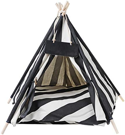 AnRui Teepee Tents for Pets Dogs Cats Portable Puppy Tents Pet Houses with Thick Cushion Blackboard product image