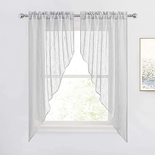 RYB HOME Half Window Swag Curtains, Linen Texture Wave Fabric Semi Sheer Valance for Light Filtering Country Curtains Privacy Room Decor, 36 x 63 inches Long, 2 Panels, Dove Grey