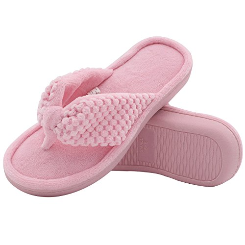 ULTRAIDEAS Women's Memory Foam Flip Flop Slippers with Cozy Terry Lining, Moisture-Wicking Open Toe Slip On, Ladies' House Shoes with Indoor Outdoor Anti-Skid Hard Rubber Sole (Pink,9-10)
