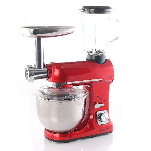 Smak Küchenmaschine 5 liter mit zubehör   Teigknetmaschine   Zerkleinerer   Fleischwolf   Universal Multifunktions Kuechenmaschine   Standmixer   Edelstahl   Rührgerät   Professional für Küche