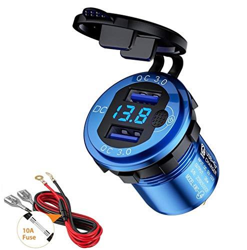 Thlevel QC3.0 Presa USB per Auto in Alluminio 12V   24V 36W Caricabatteria da Auto Doppio USB Impermeabile con Interruttore e Voltmetro LED Indicazione per Moto, Auto, Camper, Camion, Barche (Blu)
