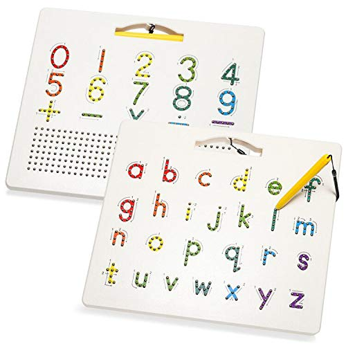 Apfity Magnetic Alphabet Tracing Board, Double Sided Magnetic Tablet Drawing Board, ABC Letters Lowcase and Number Writing Board for Kids