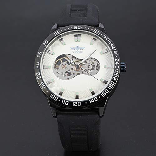 Dilwe Zeiger Anzeige Uhr, Männer Moderne analoge Anzeigen runde Vorwahlknopf Uhr mechanische Bewegung Armbanduhr(Weiß)