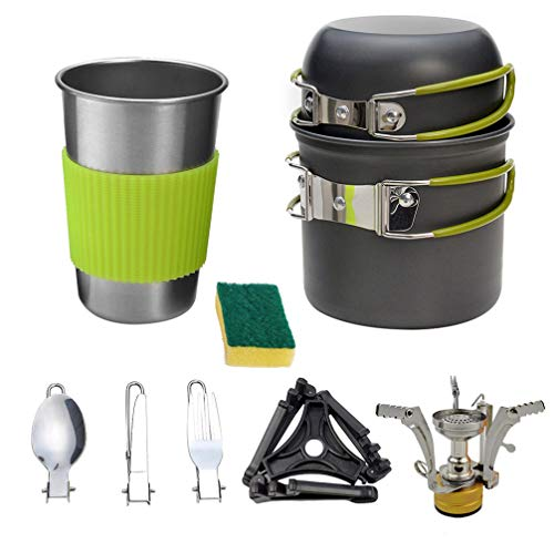 BESPORTBLE Camping Cookware Pot Set Herramientas de Cocina de Aleación de Aluminio con Estufa Soporte de Recipiente Trípode Bolsa de Almacenamiento de Spork Plegable Ollas de Cocina