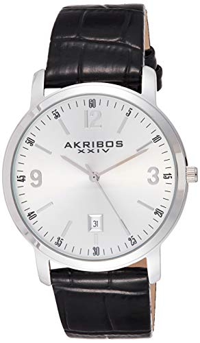 Akribos XXIV Men's Clear Classy Watch - Arabic Numeral & Baton Hour Markers With Date Window On Genuine Embossed Crocodile Pattern Strap - AK780