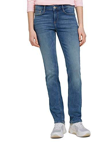 TOM TAILOR Damen Jeanshosen Alexa Straight Jeans mid Stone wash Denim,26/32,10281,6000