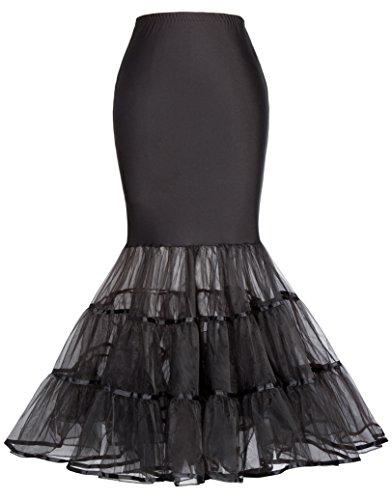 GRACE KARIN Puffy Slip Mermaid Brautkleid Weißer Petticoat für Damen 477-3 Schwarz XL