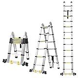 5M Escalera Plegable Aluminio, Escalera Telescópica Multiusos, Escalera Alta Multifuncional Portátil para Loft, 16 Escalones Antideslizantes y 2 Ruedas en Parte Inferior, Cargable hasta 150kg