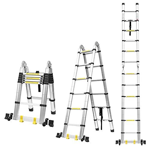 3.8M Escalera Plegable Aluminio, Escalera Telescópica Multiusos, Escalera Alta Multifuncional Portátil para Loft, 16 Escalones Antideslizantes y 2 Ruedas en Parte Inferior, Cargable hasta 150kg
