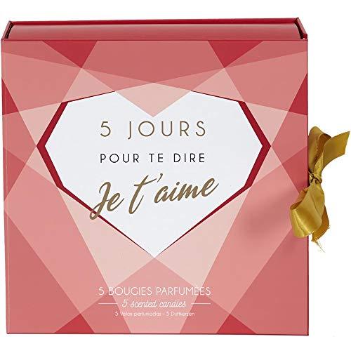 Home Deco Factory BO5480 Bougies parfumées Calendrier Mots d'Amour Coffret de 5 Assorties Senteurs Magnolia et Cachemire Pots Verre Rouge Rose et Blanc H24 x 6 x 24 cm