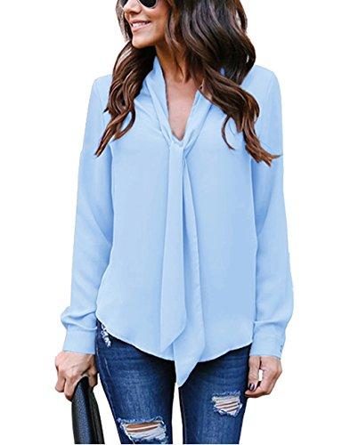 Cassiecy Damen Bluse Elegant Chiffon V-Ausschnitt Langarm Casual Oberteil Lose Langarmshirt V-Ausschnitt Vintage Tunika Hemd T-Shirt (M, Blau-2)