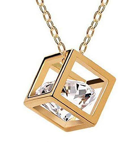 Ketting - elegant - kubus - vierkant - glitter lichtpunten - vrouw - feestgeschenkidee - transparante steen - gouden kleur - sieraden strass