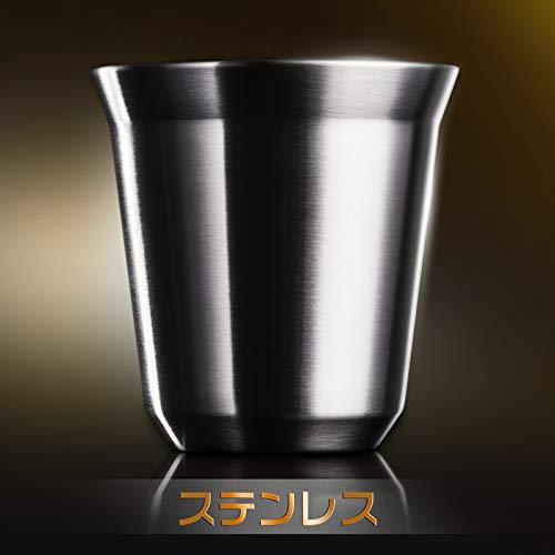 Love-KANKEIエスプレッソカップステンレス2個セット150ML日本酒用コーヒー用ステンレス二重カップ収納箱付