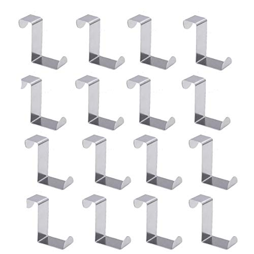 PERTTY 16 Pcs Over The Door Hooks Z Hooks Front Door Hooks,Over The Door Hanger Stainless Steel Organizer for Coat, Towel, Bag, Robe Kitchen Cabinet Clothes Hanger